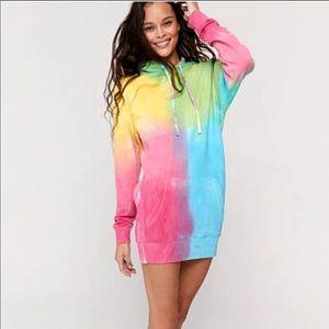 Vs pink spiritual gangster tie dye hoodie dress
